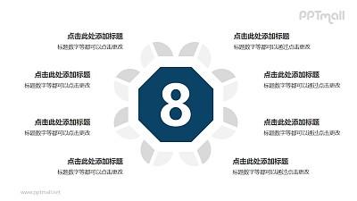 8个扇形图围绕六边形并列关系逻辑图PPT模板