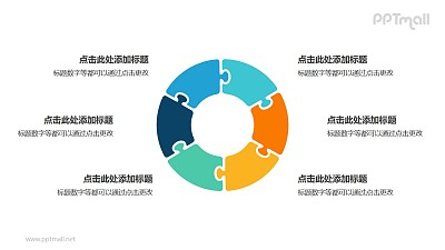 6个彩色拼图组成的空心圆循环关系逻辑图PPT模板