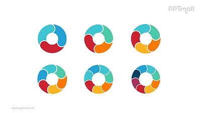 6组彩色拼图空心圆循环关系逻辑图PPT模板
