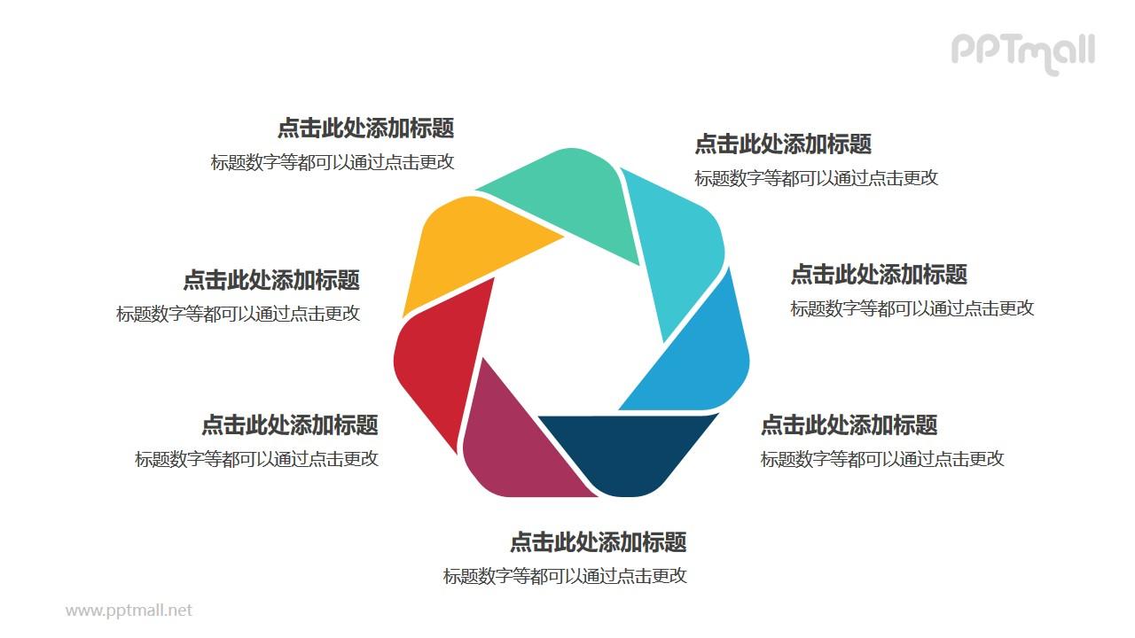 7个彩色拼图组成的六边形循环关系逻辑图PPT模板