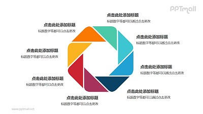 8个彩色拼图组成的八边形循环关系逻辑图PPT模板
