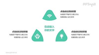 3部分绿色拼图组成三角形并列关系逻辑图PPT模板