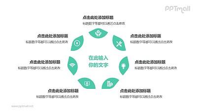 7部分绿色拼图组成三角形并列关系逻辑图PPT模板