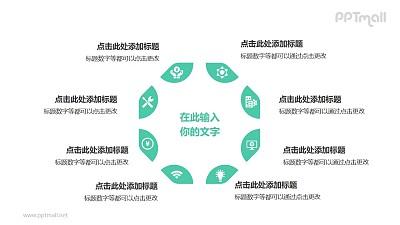 8部分绿色拼图组成三角形并列关系逻辑图PPT模板