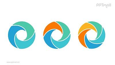 3个并列的彩色螺旋空心圆循环关系逻辑图PPT模板