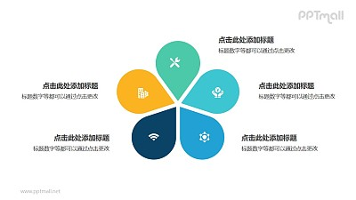 5部分彩色花朵并列关系逻辑图PPT模板