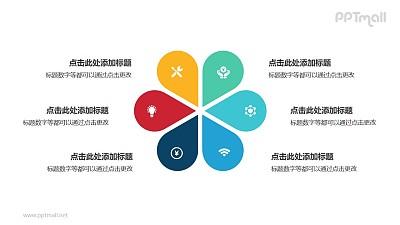 6部分彩色花朵并列关系逻辑图PPT模板