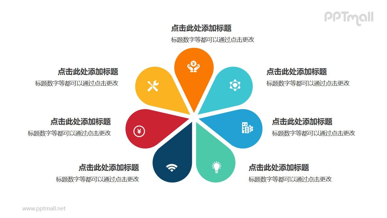 7部分彩色花朵并列关系逻辑图PPT模板