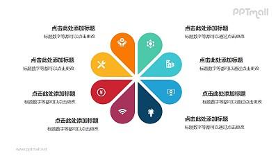8部分彩色花朵并列关系逻辑图PPT模板