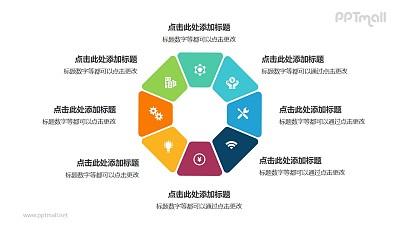 8个彩色拼图组成的八边形花环循环关系逻辑图PPT模板