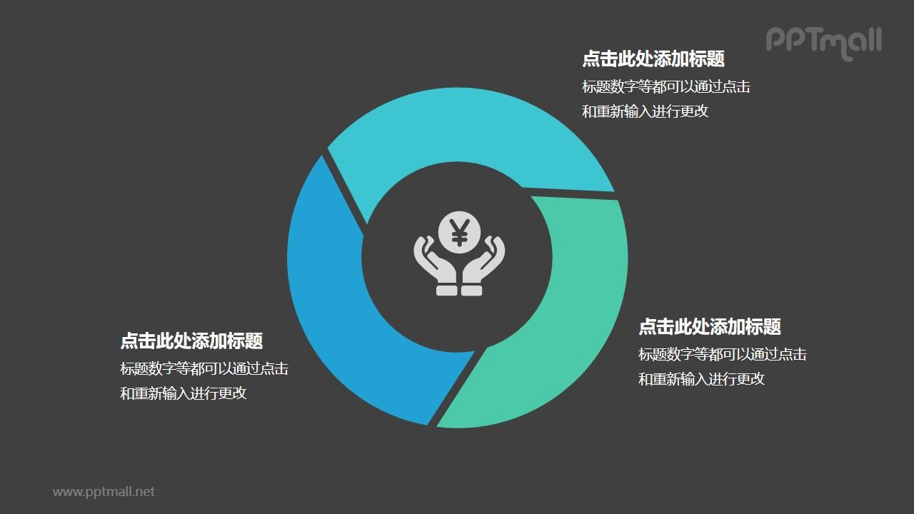 金融系列蓝色三部分循环关系逻辑图表