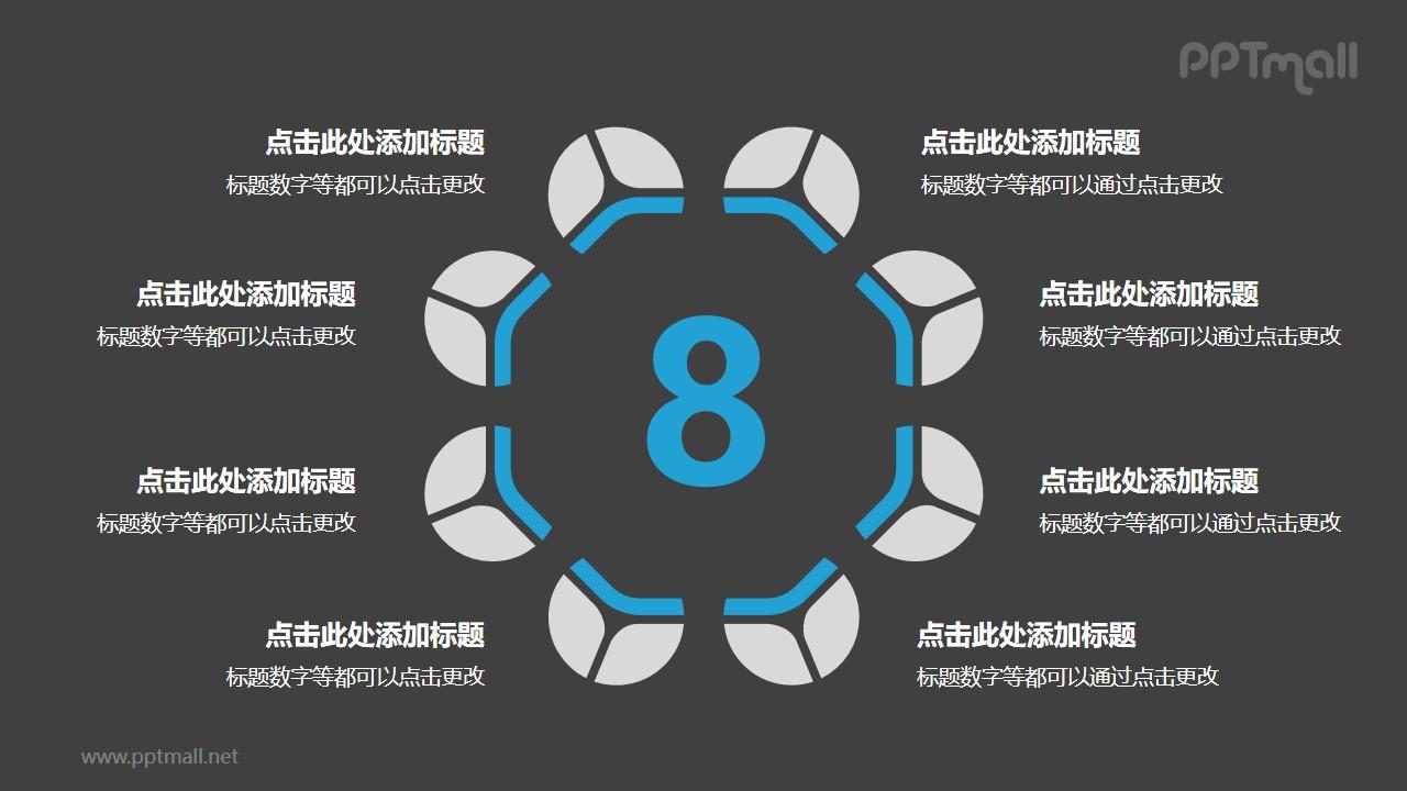 8个蓝灰色饼图摆成的圆形并列关系逻辑图PPT模板