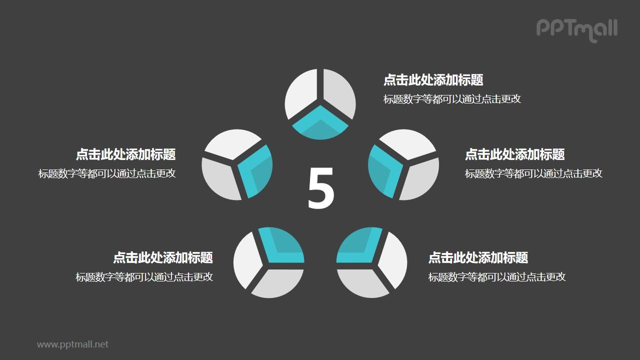 5个灰绿色饼图并列关系逻辑图PPT模板