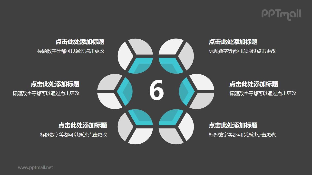 6个灰绿色饼图摆成的圆形并列关系逻辑图PPT模板