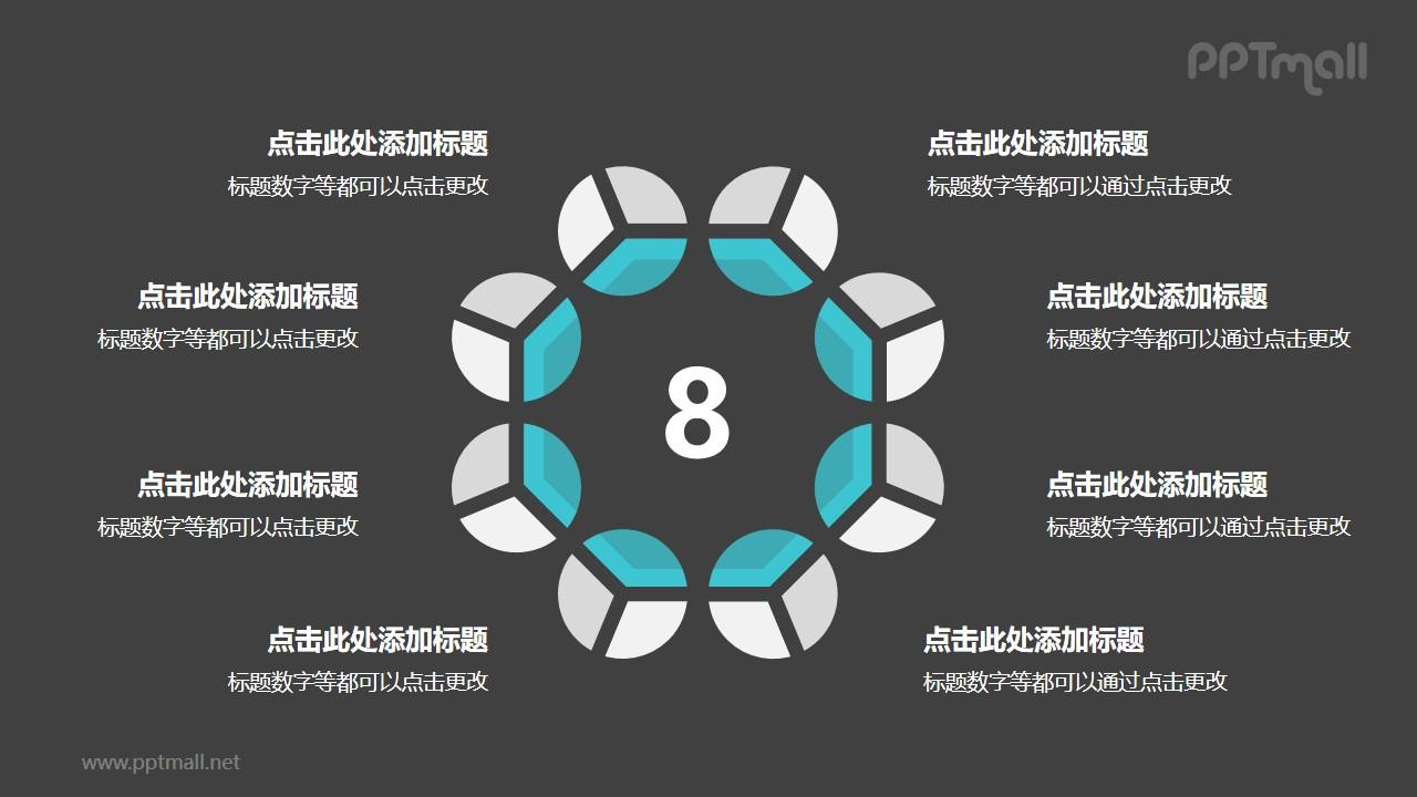 8个灰绿色饼图摆成的圆形并列关系逻辑图PPT模板
