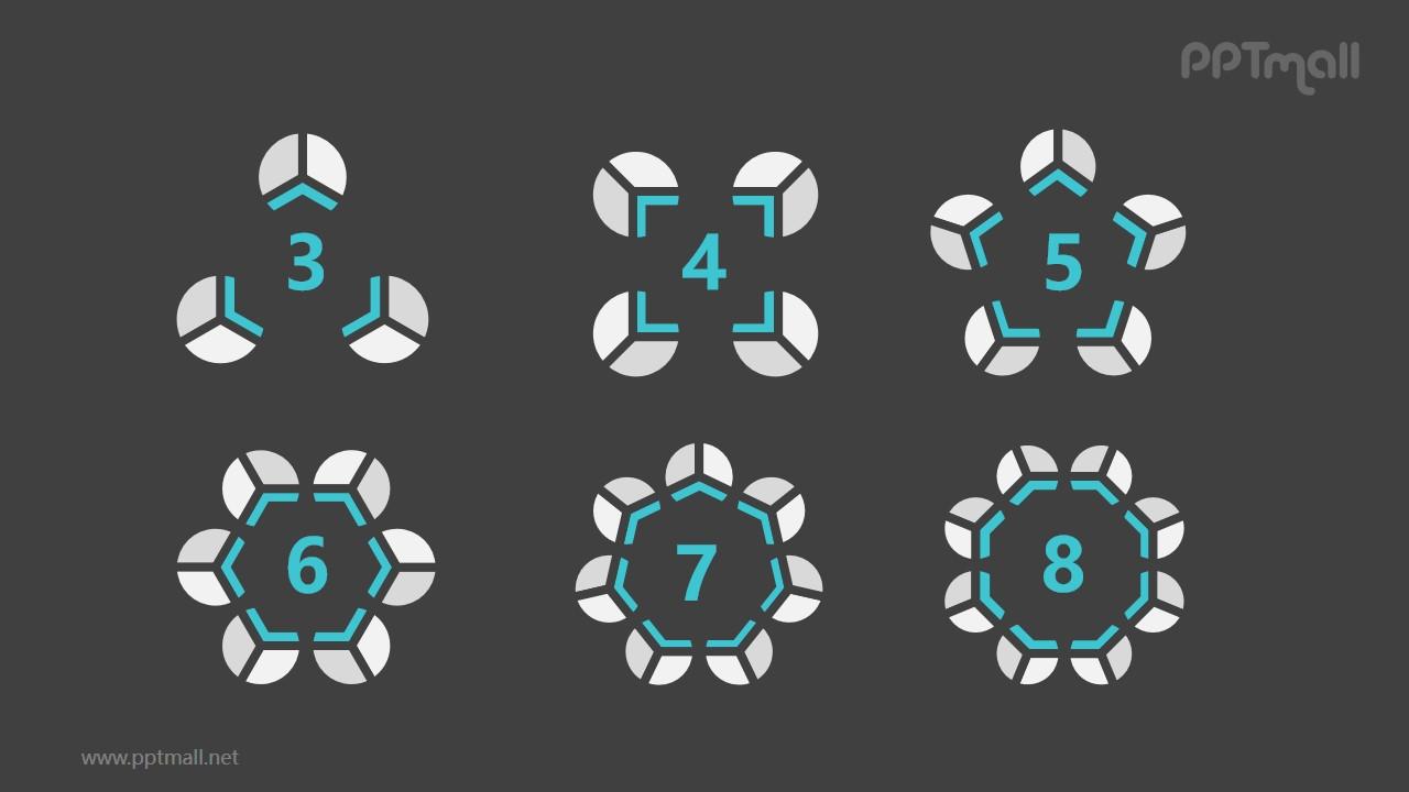 6组灰绿色饼图并列关系逻辑图PPT模板