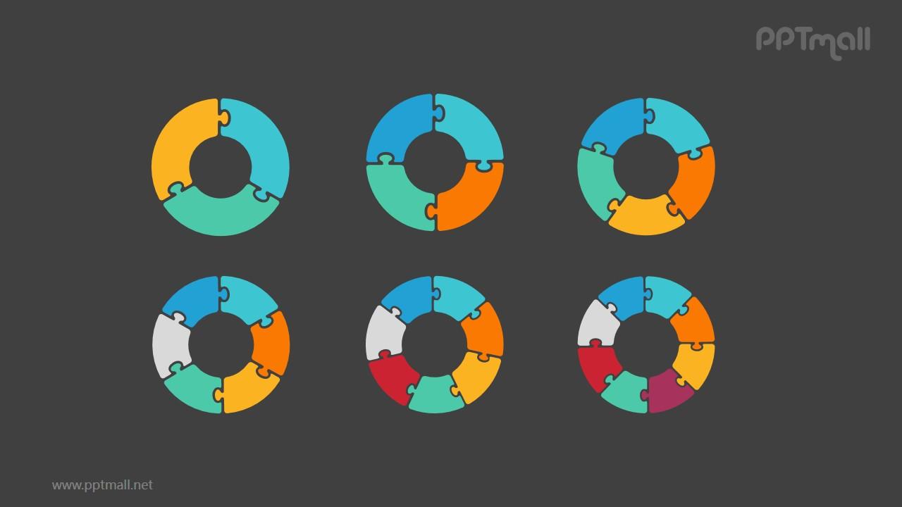 6组拼图空心圆循环关系逻辑图PPT模板