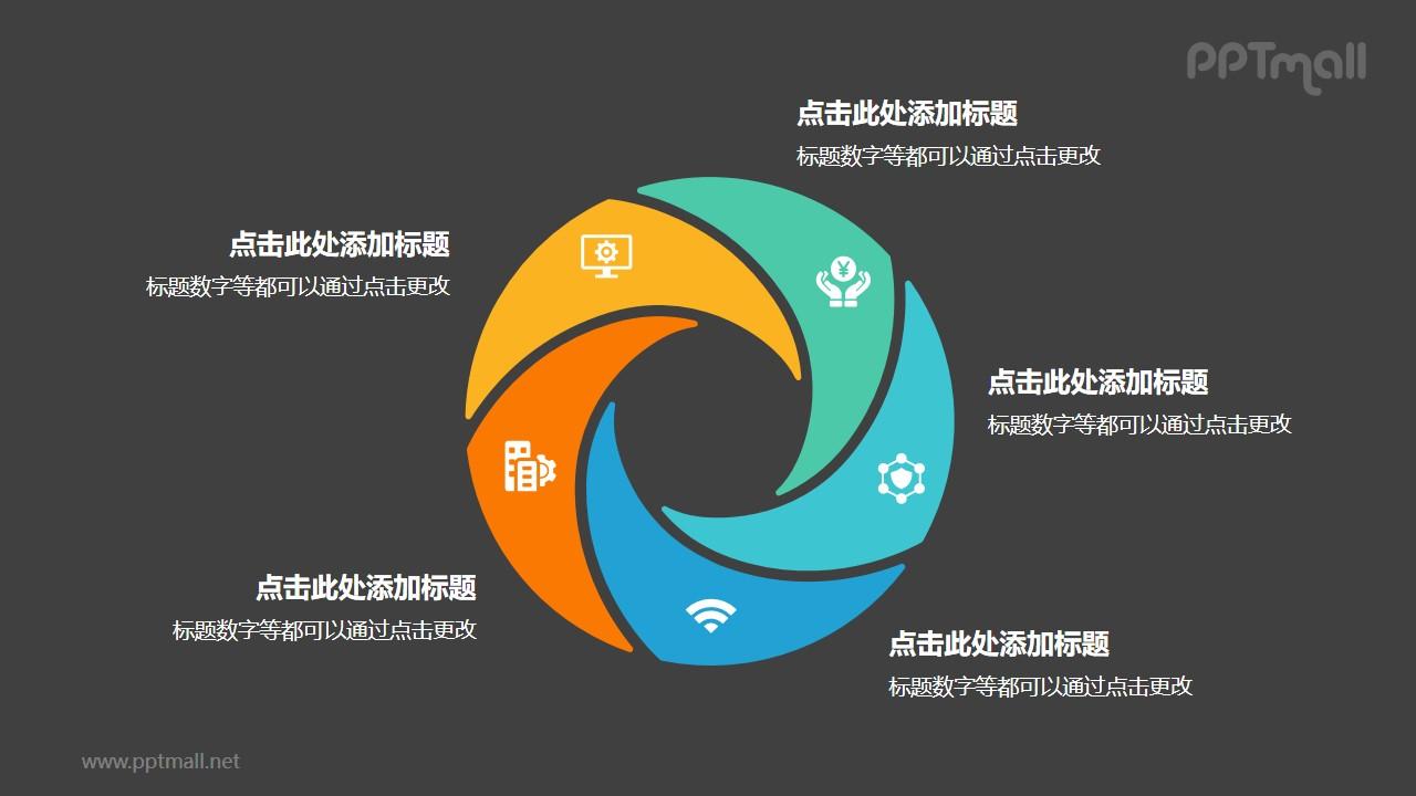 5部分彩色螺旋空心圆循环关系逻辑图PPT模板