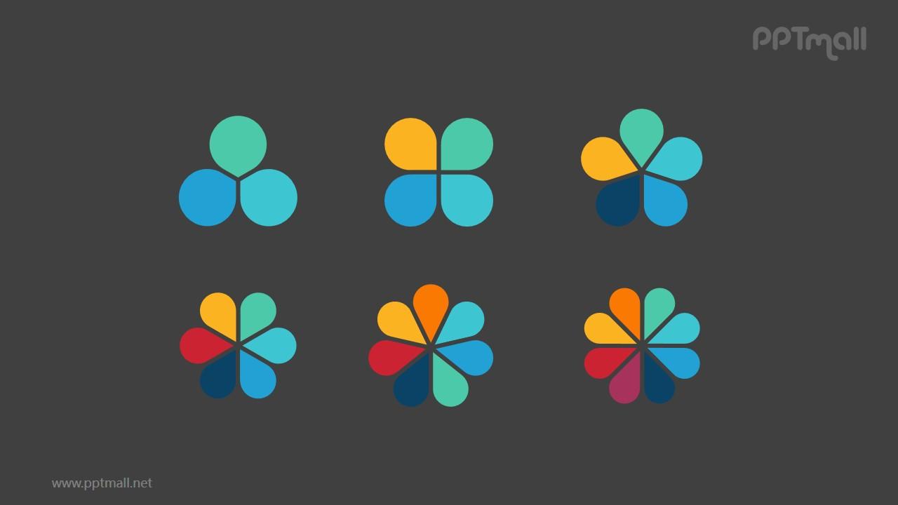6组彩色花瓣并列关系逻辑图PPT模板