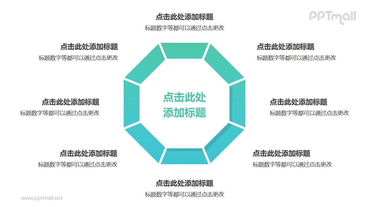 8部分绿色梯形组成的三角形循环关系逻辑图PPT模板