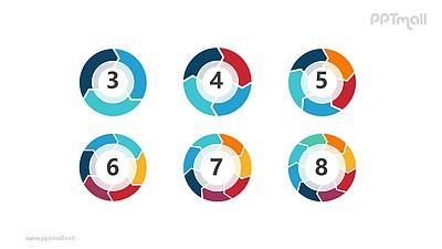 6个并列的环状图形循环关系逻辑图PPT模板
