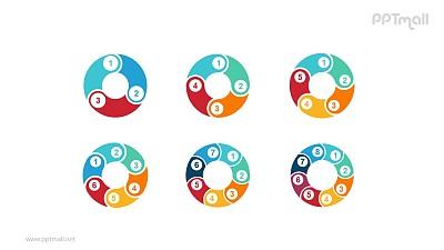 6组彩色拼图组成的空心圆循环关系逻辑图PPT模板