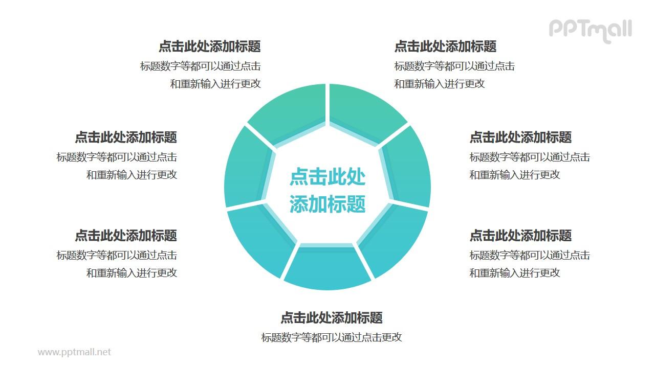中间为七边形的空心圆7部分并列关系逻辑图PPT模板