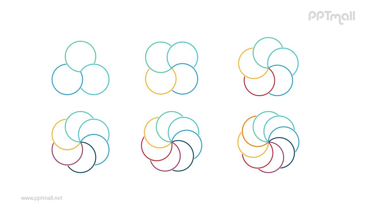 6组彩色花瓣状的圆形拼图循环关系逻辑图PPT模板