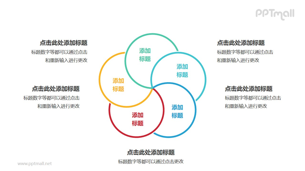5个彩色圆形组成的花瓣图案循环关系逻辑图PPT模板