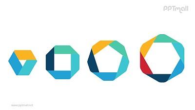 4组彩色折纸组成多边形并列关系关系逻辑图PPT模板
