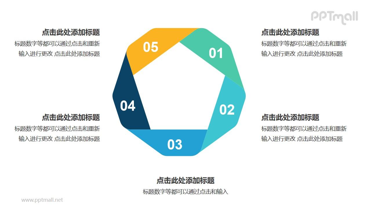 彩色折纸组成的五边形循环关系逻辑图PPT模板