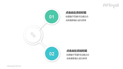 2个绿色圆形并列关系逻辑图PPT模板