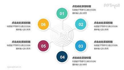 6个圆形图总分关系并列关系逻辑图PPT模板