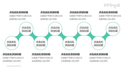 8个依次连接的圆形并列关系逻辑图PPT模板