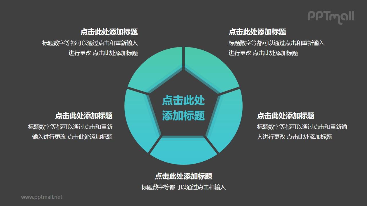 中间为五边形的空心圆5部分并列关系逻辑图PPT模板