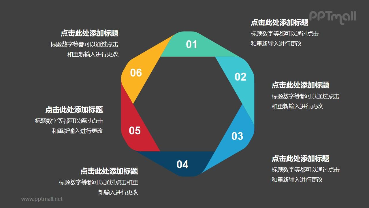 彩色折纸组成的六边形循环关系逻辑图PPT模板