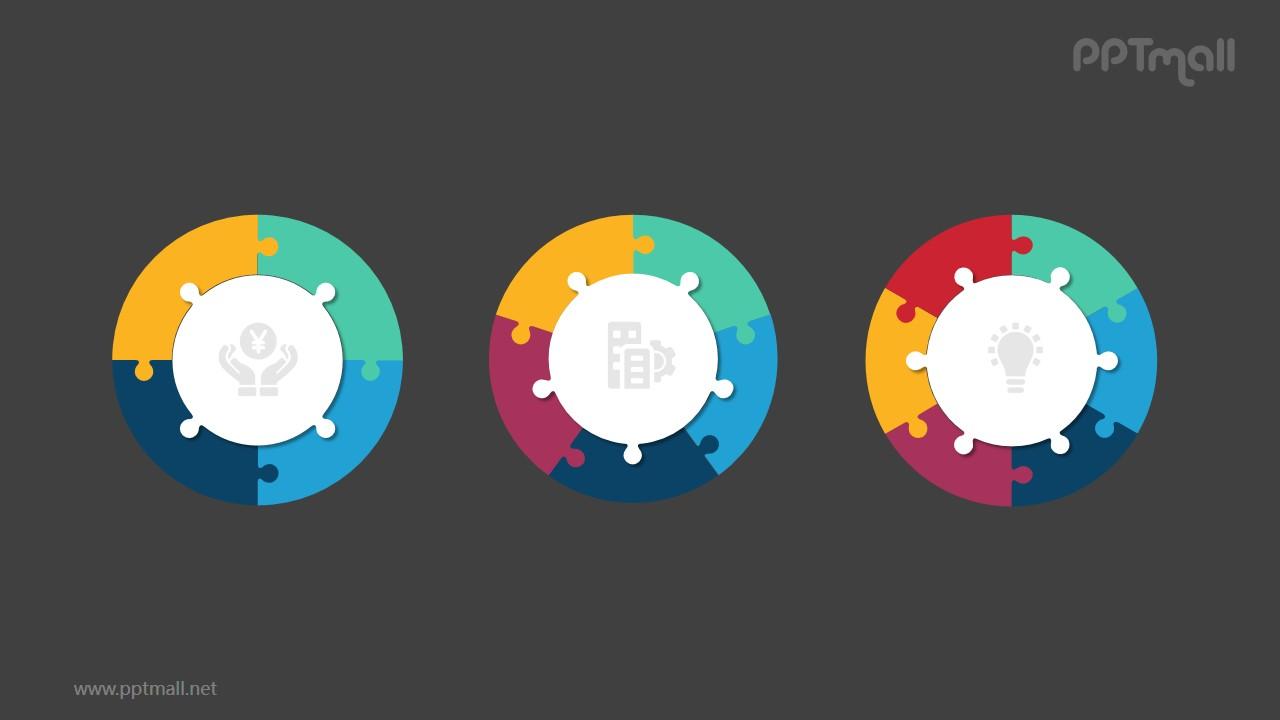 3个并列的彩色饼图循环关系逻辑图PPT模板