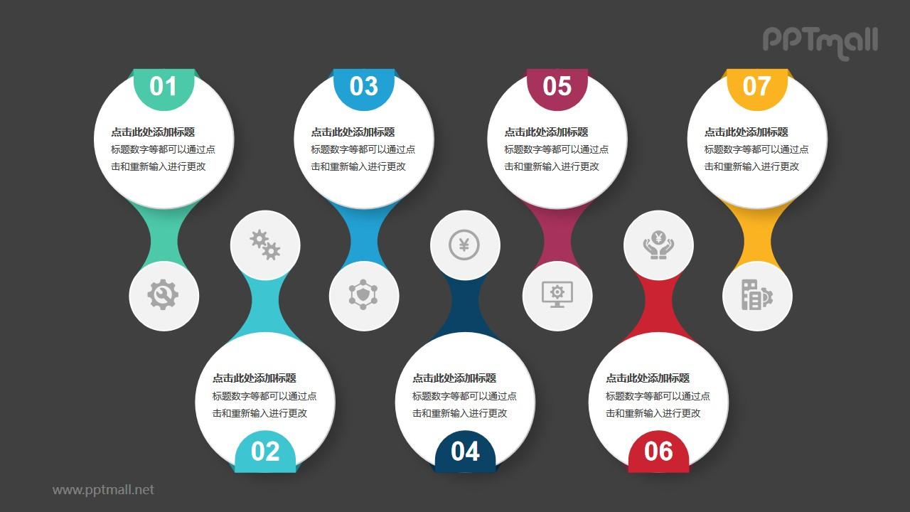 7个彩色立体圆盘卡片并列关系PPT模板