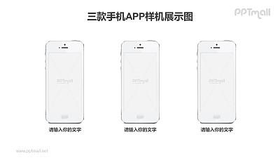 三台横向排版的iPhone6/6s/7/7s手机样机PPT素材下载