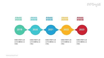 5个彩色椭圆形组成的时间轴递进关系PPT模板