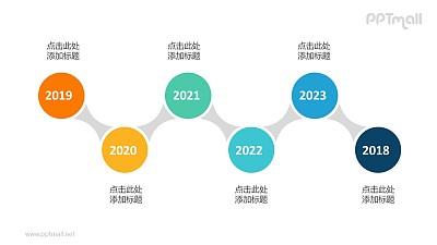 6个依次连接的彩色圆形时间轴递进关系PPT模板