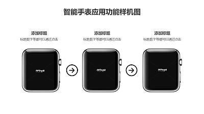 3台apple watch展示3个操作步骤的样机PPT素材模板下载