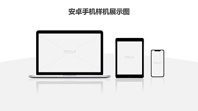 电脑平板手机3设备样机PPT素材模板下载