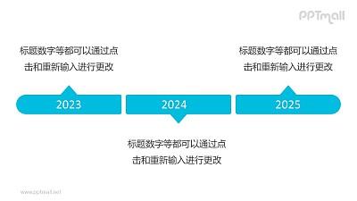 3个蓝色的气泡框组成的时间轴递进关系PPT模板