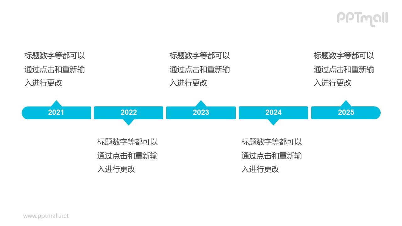 5个蓝色的气泡框组成的时间轴递进关系PPT模板