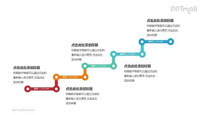 5个彩色的折线组成的台阶递进关系PPT模板