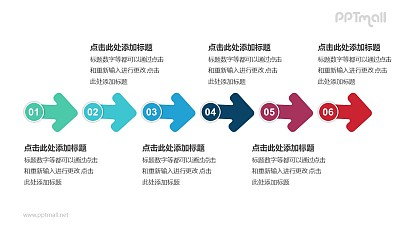 6个带序号的箭头依次连接递进关系PPT模板
