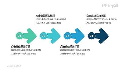 4个带序号的箭头依次连接递进关系PPT模板