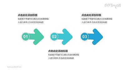 3个带序号的箭头依次连接递进关系PPT模板