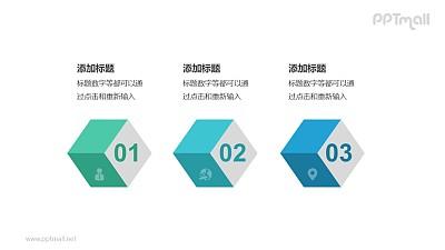 3个带序号的彩色立体方块递进关系PPT模板